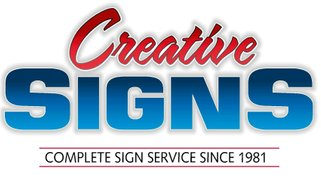 Graphic that reads 'Creative Signs, complete signs service since 1981'