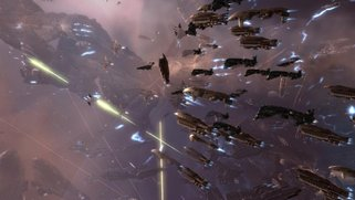 Screenshot of Eve Online video game where space ships battle in outer space.